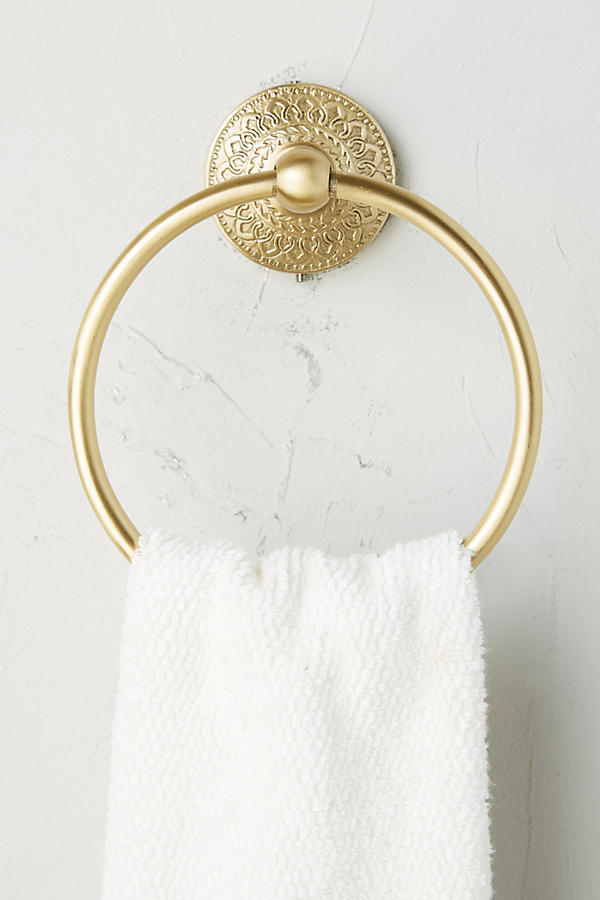 Slide View: 1: Brass Medallion Towel Ring