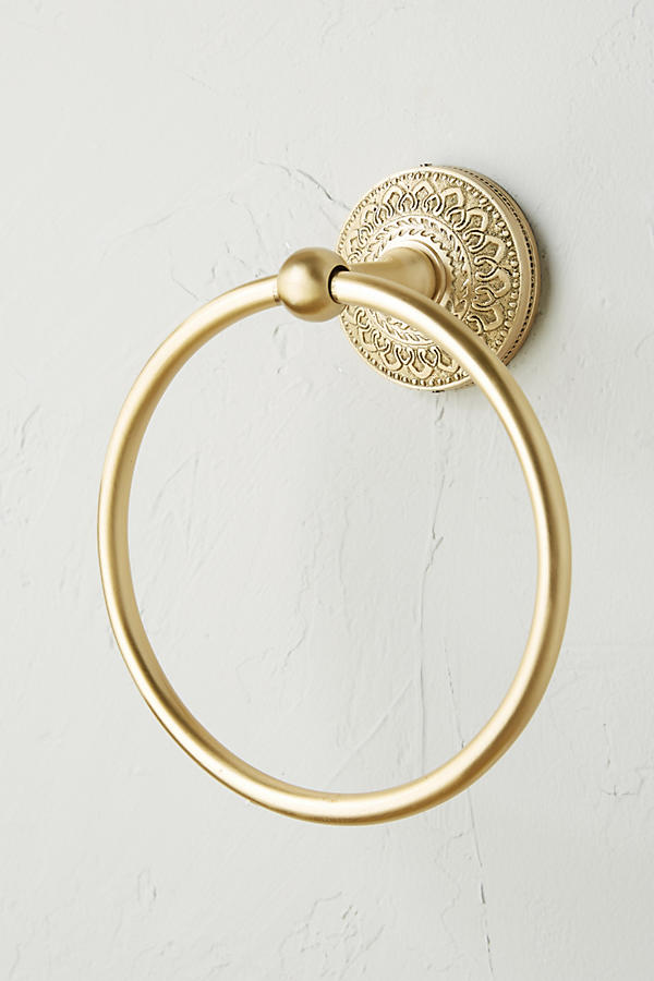 Slide View: 2: Brass Medallion Towel Ring