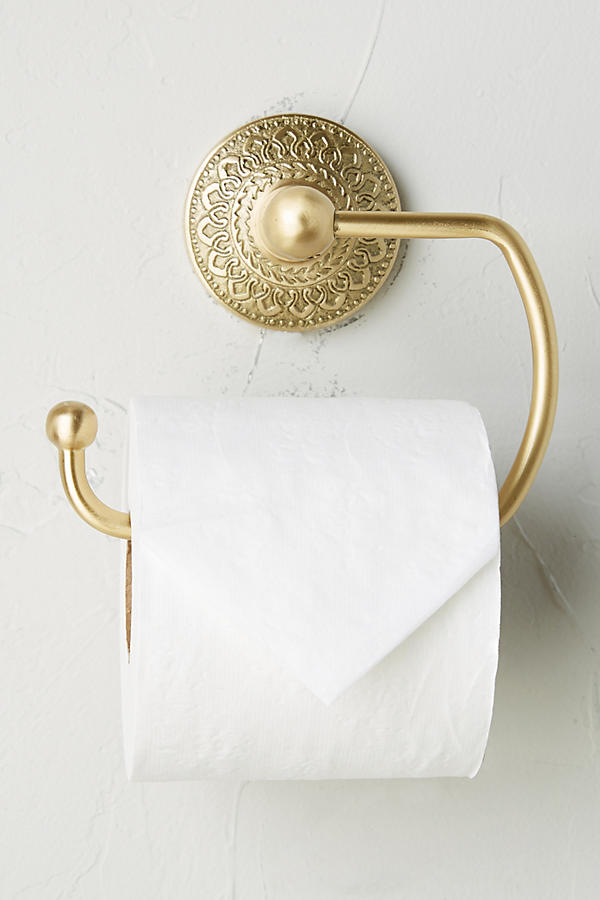 Slide View: 1: Brass Medallion Toilet Paper Holder