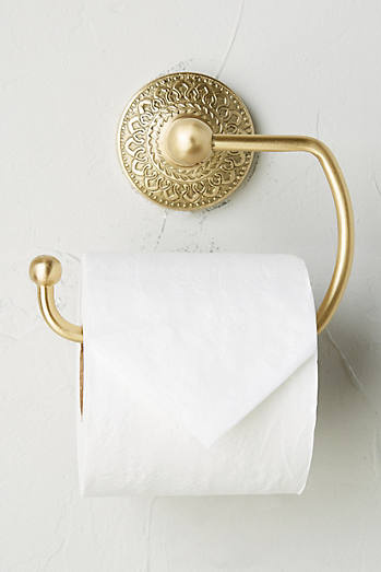 Brass Medallion Toilet Paper Holder