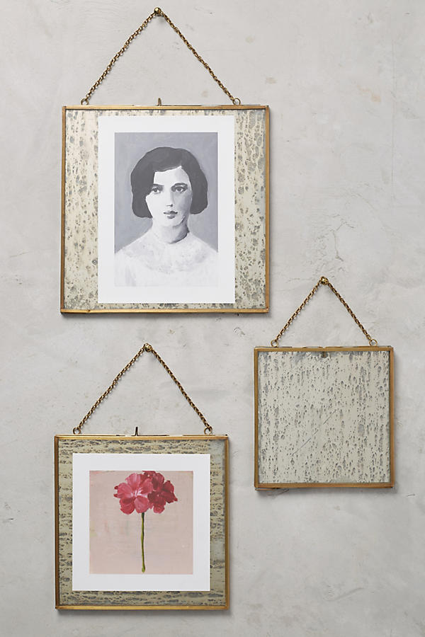 Slide View: 4: Brass Hanging Picture Frame