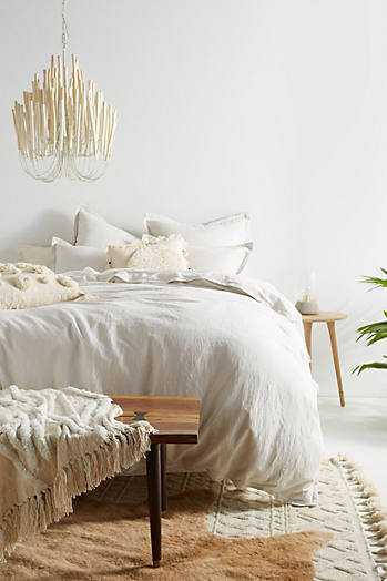 Slide View: 1: Relaxed Cotton-Linen Duvet