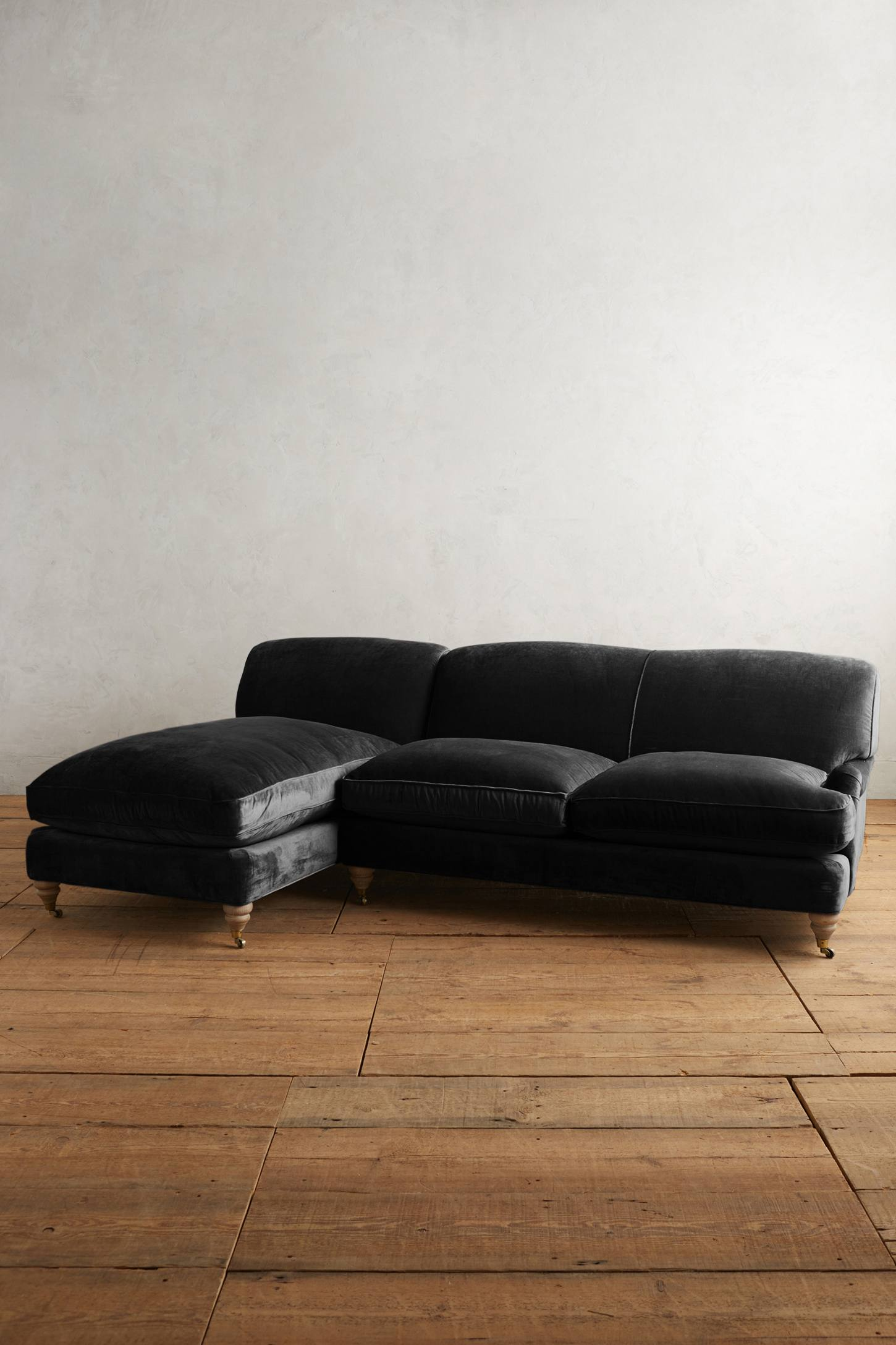 Slide View: 1: Slub Velvet Glenlee Left Sectional, Wilcox