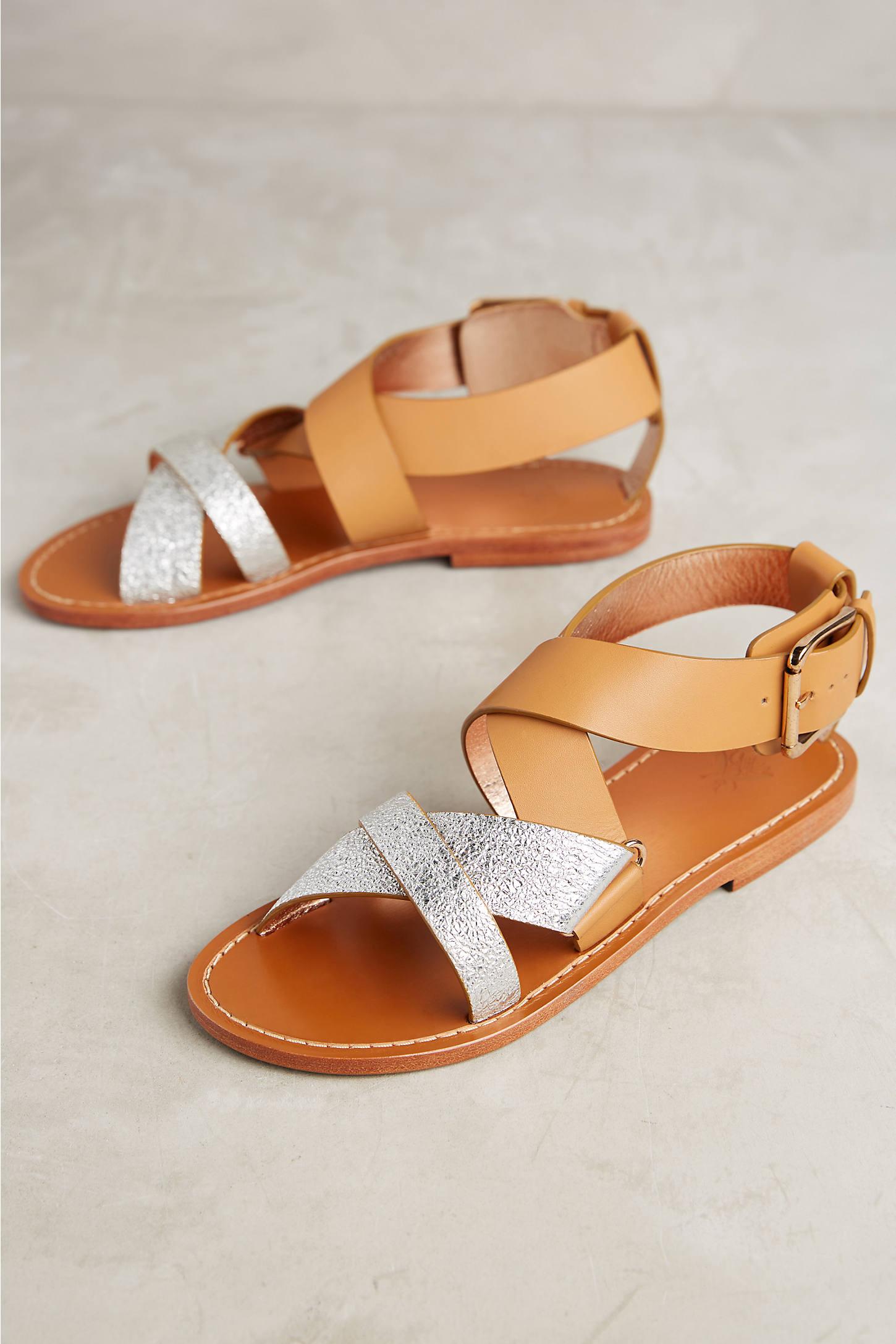 Sanchita Coelia Crossed Metallic Sandals