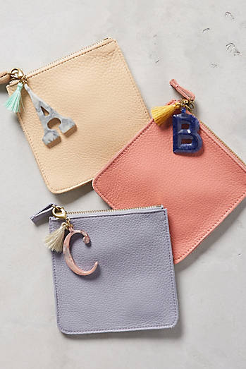 Leather Monogram Pouch