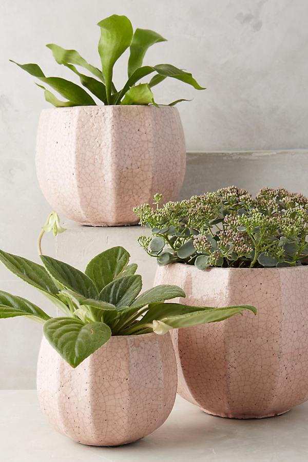 Ridged Terracotta Pot - Pink, Size L