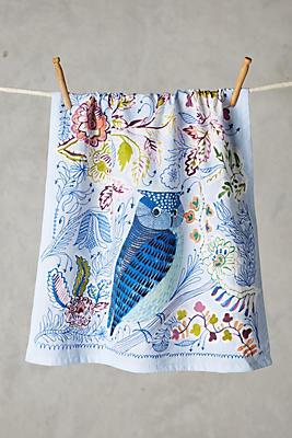 Slide View: 1: Embroidered Rosaleda Dish Towel