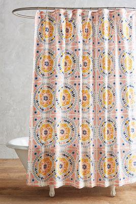 orange and grey shower curtain.  Tegula Shower Curtain Anthropologie