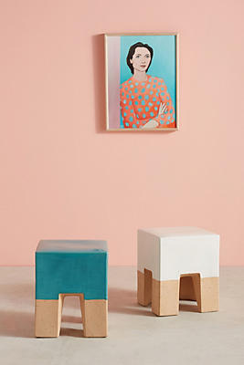 Slide View: 3: Glaze-Dipped Side Table