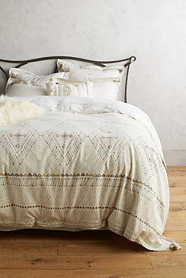 Slide View: 1: Embroidered Pointilliste Duvet Cover