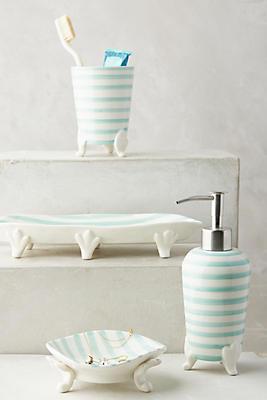 Slide View: 1: Mint Stripes Bath Container