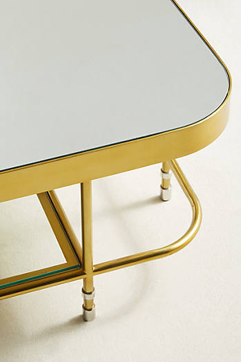Slide View: 4: Brass Parabola Coffee Table