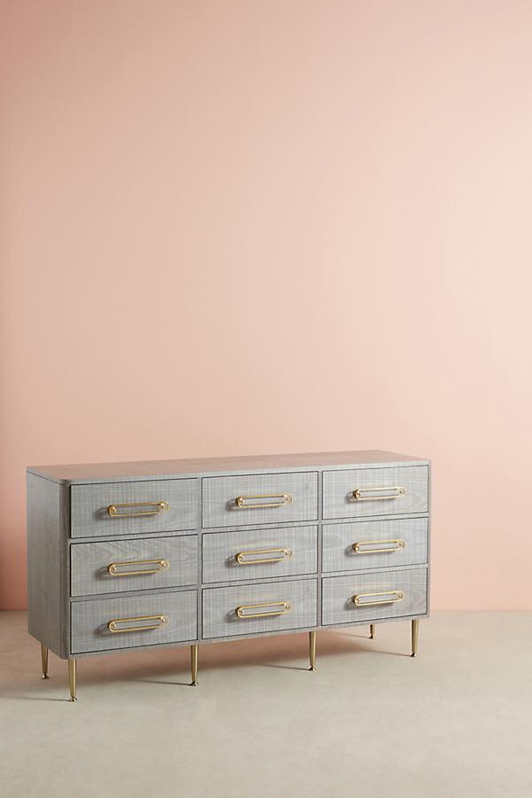 Odetta Nine-Drawer Dresser - Light Grey