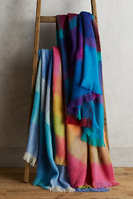 Slide View: 3: Avoca Plaid Mohair Throw Blanket