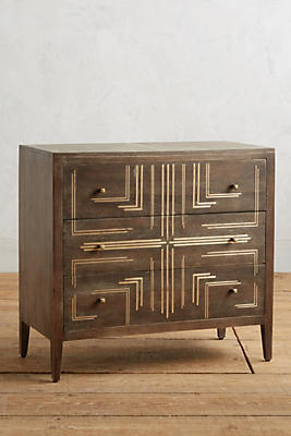 Slide View: 1: Geo Brass Inlay Three-Drawer Dresser