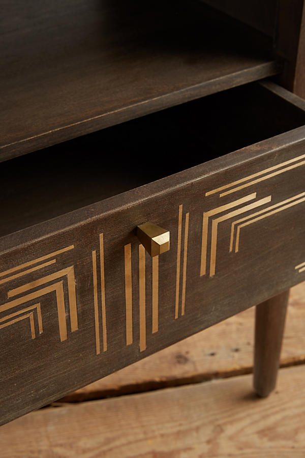 Slide View: 2: Geo Brass Inlay Nightstand