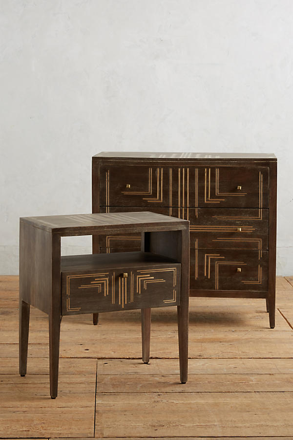 Slide View: 4: Geo Brass Inlay Nightstand
