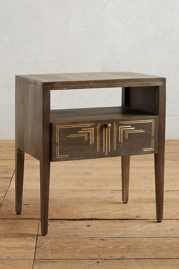 Slide View: 1: Geo Brass Inlay Nightstand
