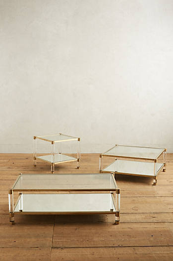 Slide View: 4: Oscarine Lucite Mirrored Side Table