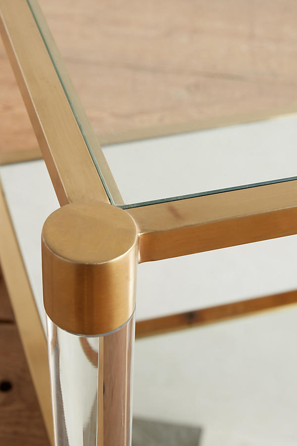 Slide View: 3: Table d'appoint à miroir Oscarine Lucite