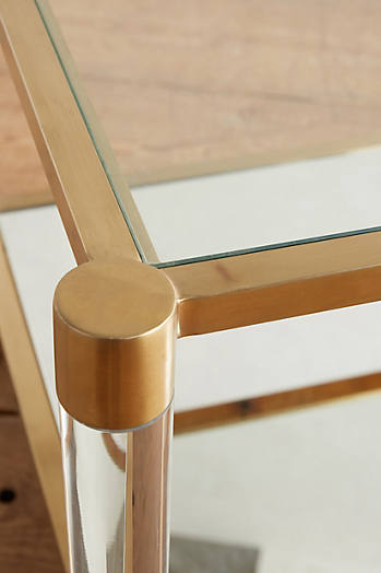 Slide View: 3: Oscarine Lucite Mirrored Side Table