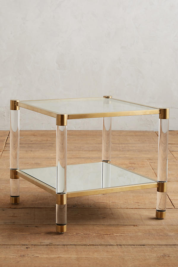 Slide View: 1: Table d'appoint à miroir Oscarine Lucite