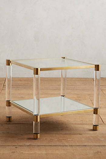 Slide View: 1: Oscarine Lucite Mirrored Side Table