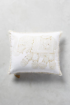 Slide View: 1: Embroidered Elephant Pillow