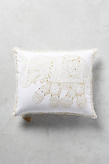 Embroidered Elephant Pillow