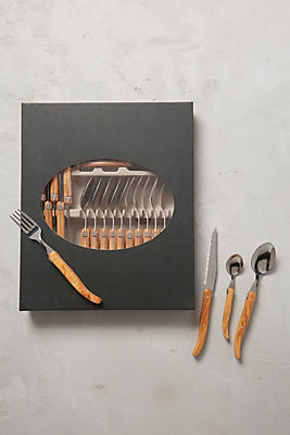 Slide View: 1: Olive Wood Laguiole Flatware Collection