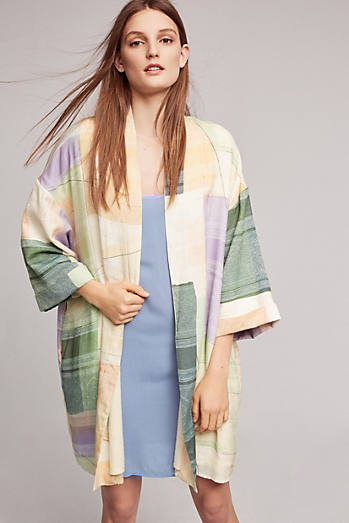 Watercolor Plaid Robe