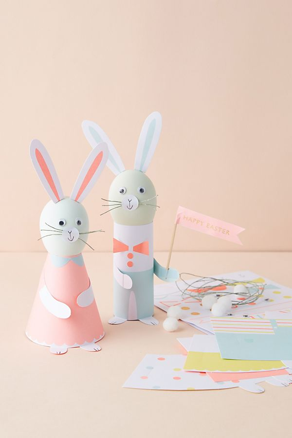Slide View: 1: Ensemble de décoration d'œufs amis lapins