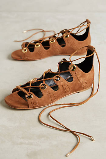 Lola Cruz Lace-Up Suede Sandals