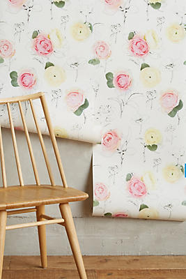 Slide View: 2: Rose Relief Wallpaper