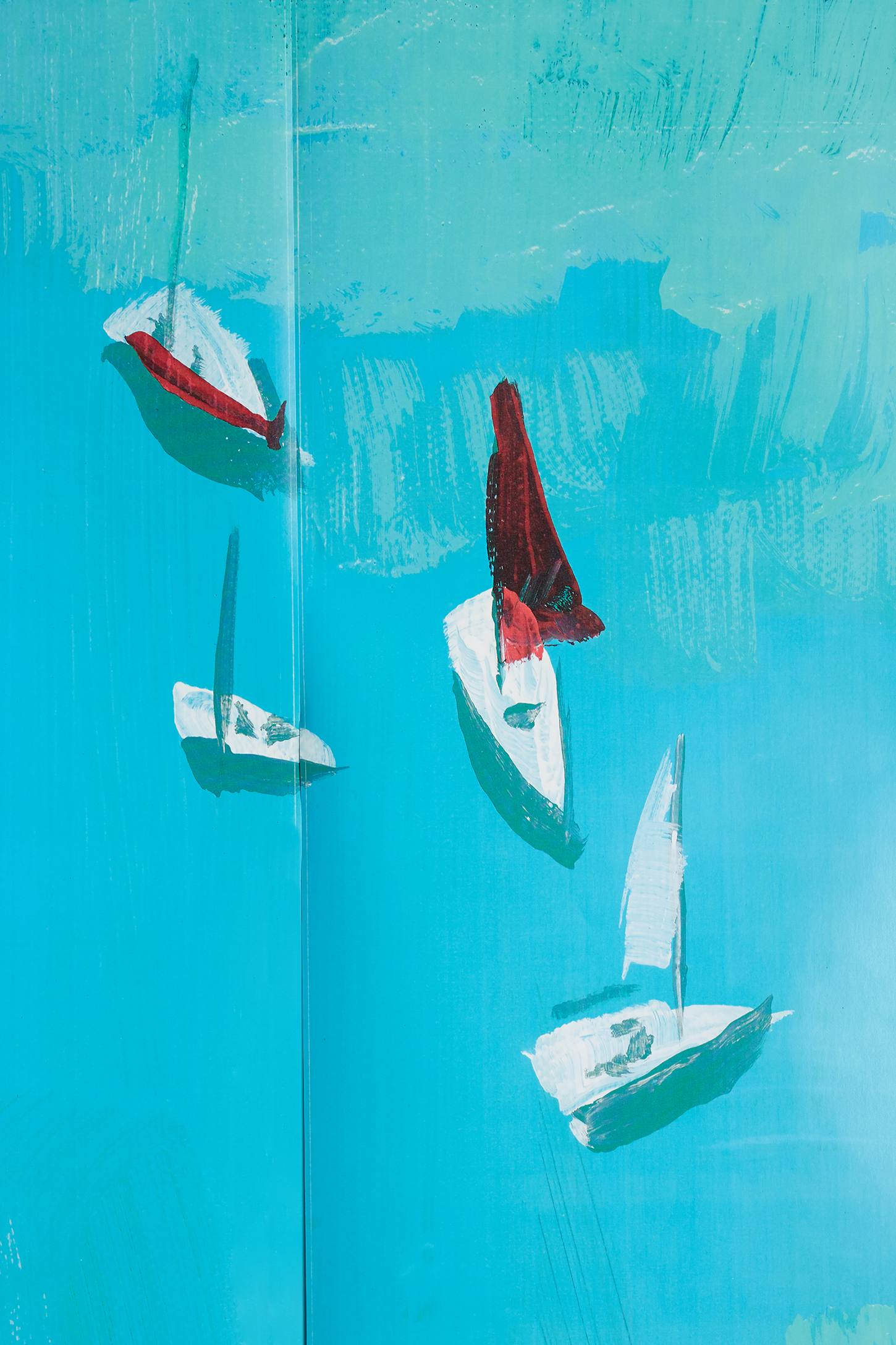 Slide View: 3: Décor Mural Sailing Scene