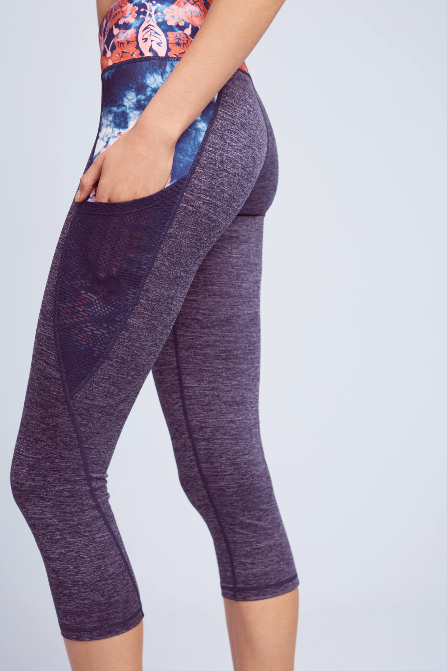 Slide View: 3: Washed Flora Capri Leggings
