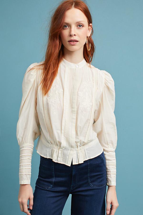 Eloise High-Neck Blouse, White - White, Size S