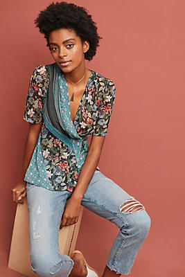 Slide View: 1: Lovely Patchwork Wrap Top