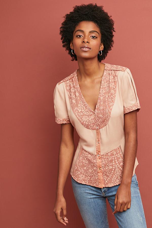Talia Lace Top - Pink, Size L