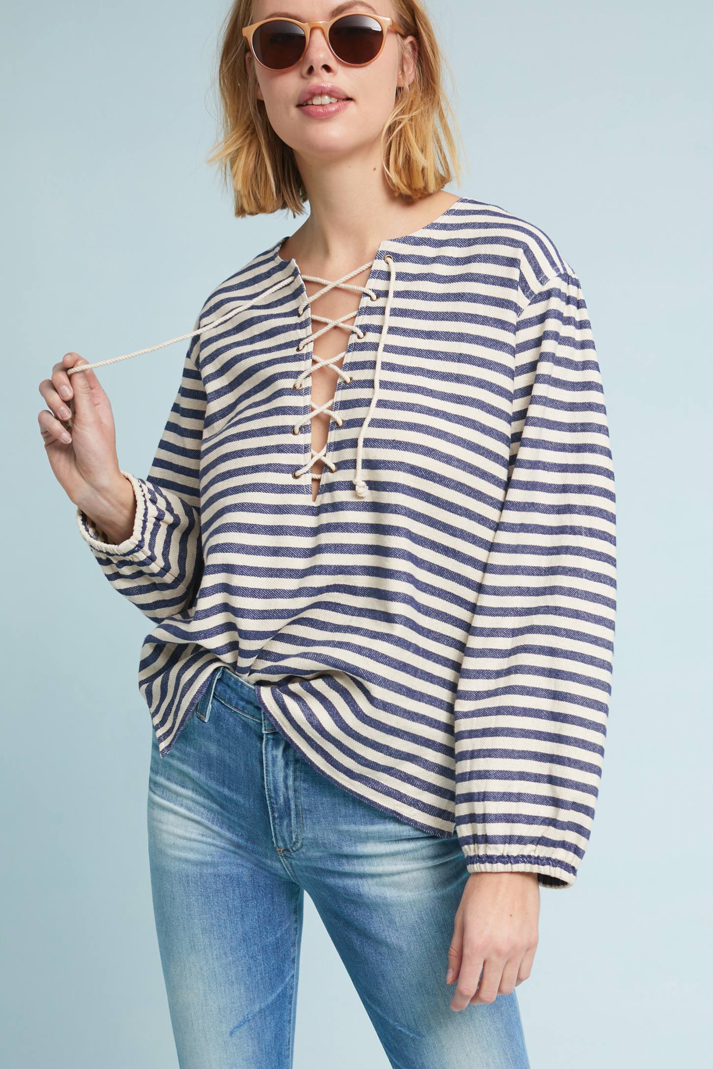 Nautical Peasant Top