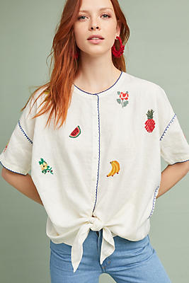 Slide View: 1: Fruit Embroidered Top