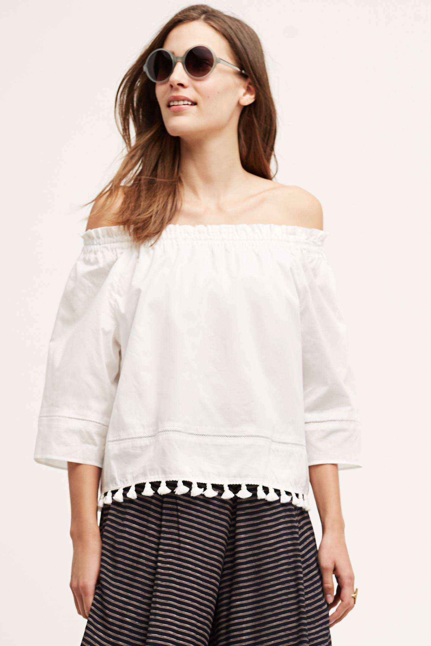 Tasseled Poplin Blouse
