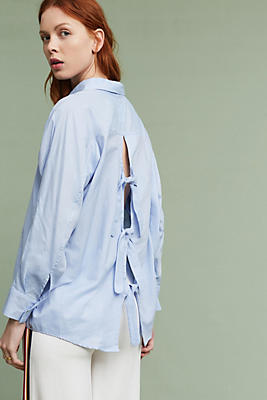 Slide View: 1: Dillon Open-Back Poplin Blouse