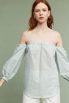 Slide View: 1: Corrine Pinstripe Off-The-Shoulder Blouse