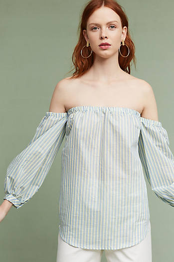 Corrine Pinstripe Off-The-Shoulder Blouse