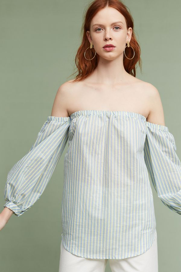 Ottod'Ame Corrine Pinstripe Off-The-Shoulder Blouse