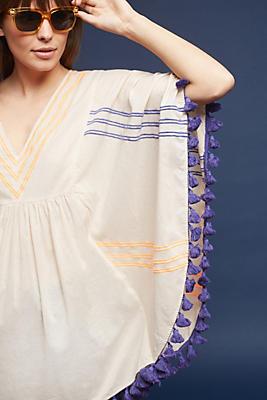 Slide View: 1: Striped & Tasseled Poncho