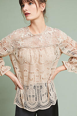 Slide View: 1: Anna Sui Scalloped Lace Top