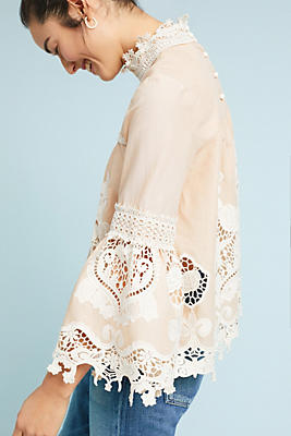 Slide View: 3: Anna Sui Lace Peasant Top