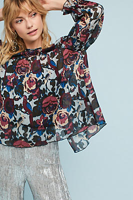 Slide View: 1: Anna Sui Floral Crepe Top